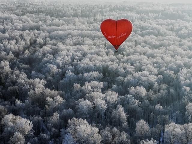 Индивидуальный полет на шаре в форме сердца + видео от poletomania